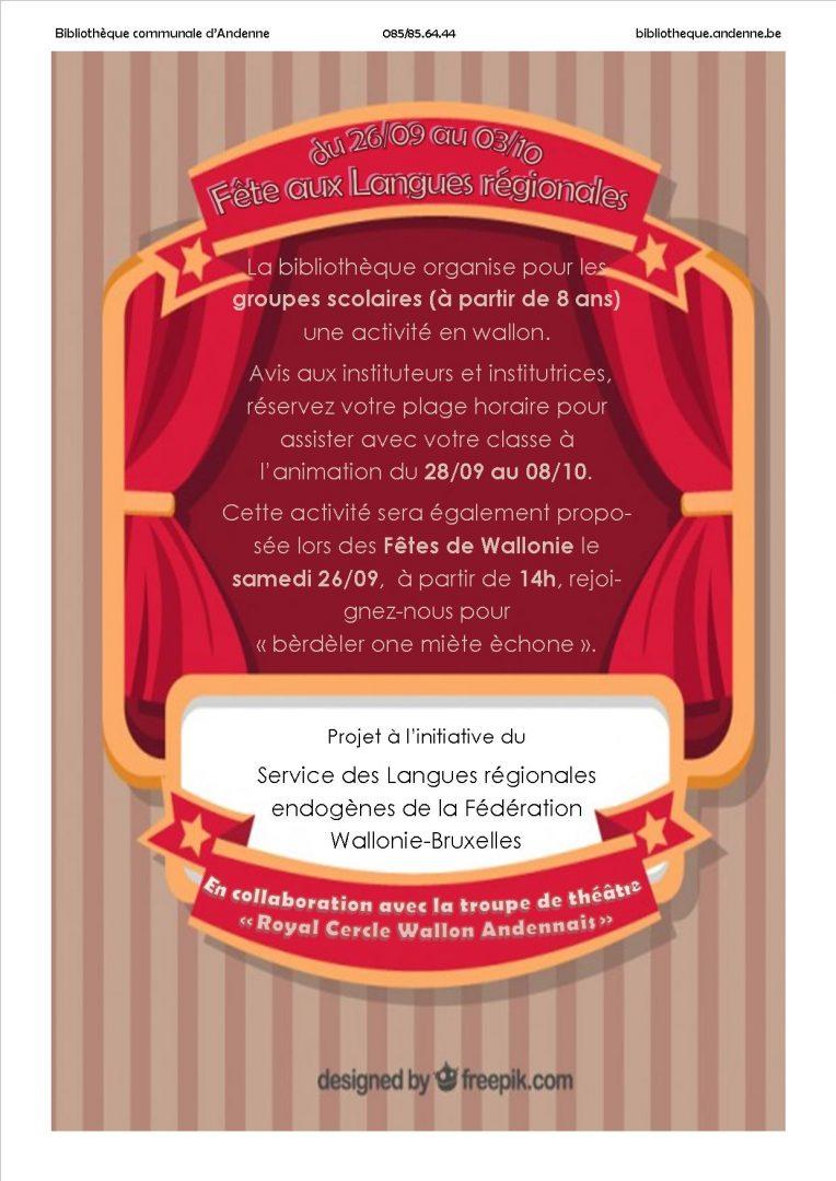 Fête des langues régionales : Initiation à la langue wallonne – Mme Masscheleyn (1er octobre 2015)