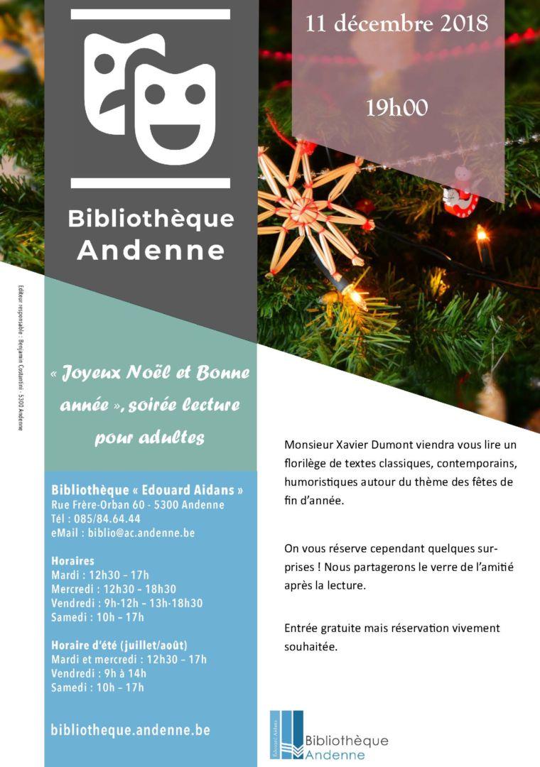 «Joyeux Noël et Bonne année», soirée lecture pour adultes